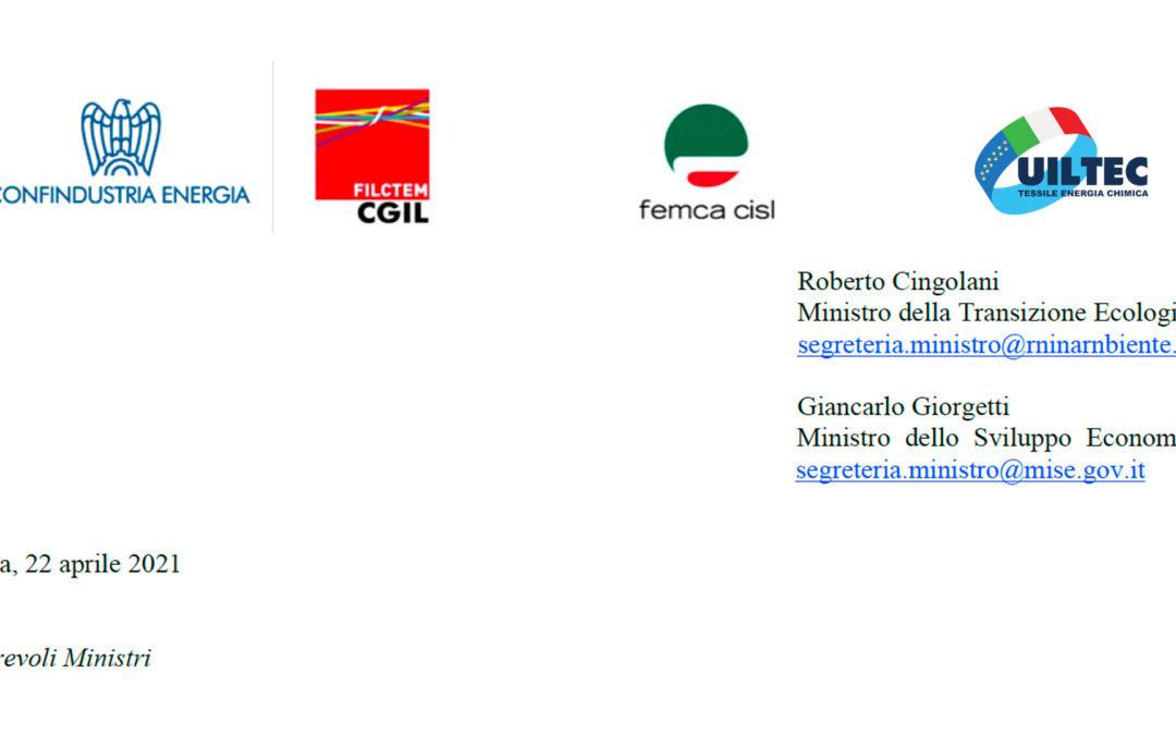 Lettera congiunta Filctem, Femca, Uiltec, Confindustria Energia ai Ministri Cingolani e Giorgetti