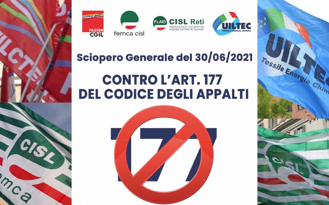 Il 30 giugno sciopero nel settore Elettrico e del Gas per cancellare l'art 177 del Codice Appalti