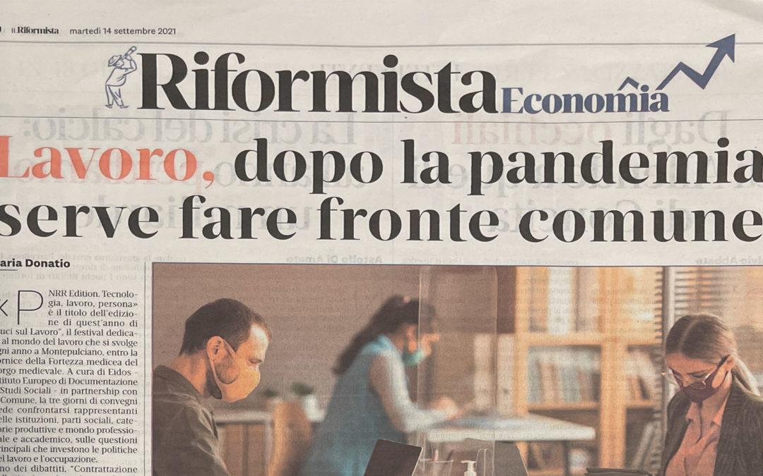 """La Uiltec all'evento """"Luci sul lavoro"""" a Montepulciano ripresa da il """"Riformista"""""""